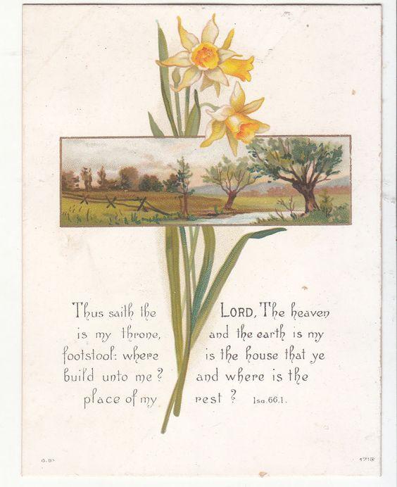 Thus Saieth The Lord The Heaven Daffodils Religious Victorian Card C 1880s | eBay