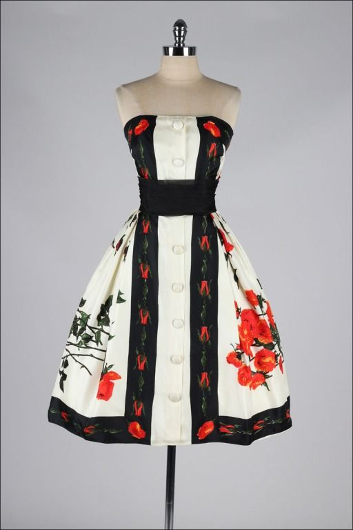 Vintage 1950's Silk Floral Scarf Cocktail Dress. #VintageScarfDress #VonGiesbrechtJewels