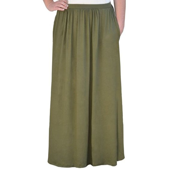 Kosher Casual Olive Flowing Maxi Skirt (€35) ❤ liked on Polyvore featuring skirts, green, draped skirt, ankle length skirt, long maxi skirts, draped maxi skirt and army green skirt