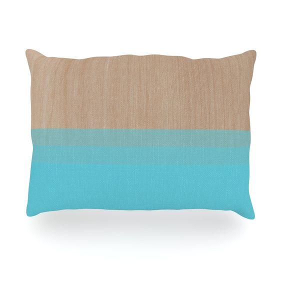 "Brittany Guarino ""Art Blue"" Aqua Wood Oblong Pillow"