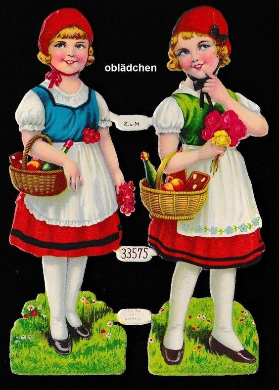 # GLANZBILDER # Z.u. M. 33575 Teilbogen 14 x 10 cm, Rotkäppchen, alt - ca.1940
