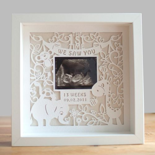 Framed Personalised Baby Scan Photo Paper Cut Art Picture - £69.99 from Gift Wrapped and Gorgeous #handmade #SmallBizSatUK