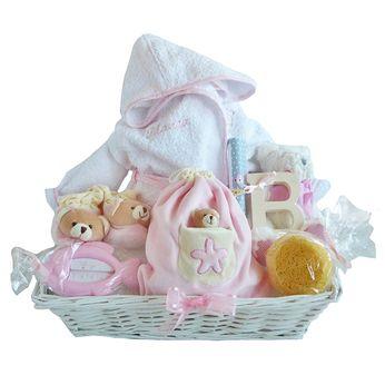 CANASTILLA PARA NIÑOS BAÑO CON ALBORNOZ PERSONALIZADO. Cesta personalizada para bebé. Canastilla personalizada para recién nacido. Cesta para regalo de bebés.