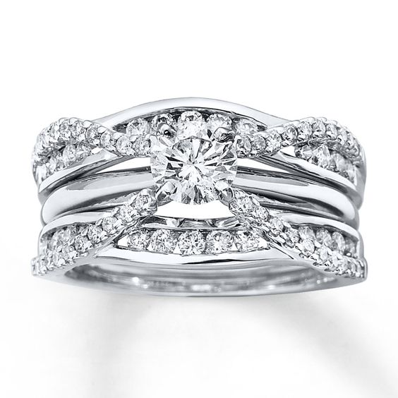 Diamond Enhancer Ring 3/4 ct tw Round-cut 14K White Gold