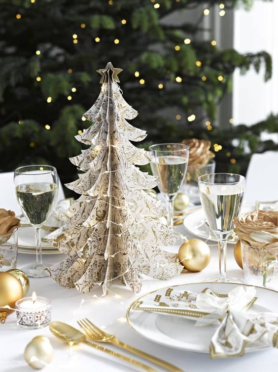gold christmas tree table decoration by little cupcake boxes ...