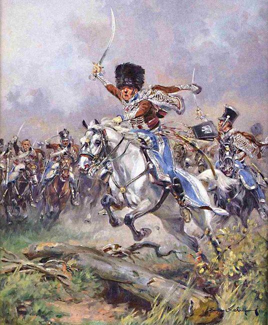 Charge 2ème Hussard - plat d'étain d'après Eugène Leliepvre 15d9367804efa31c5faa317ccc743ef2