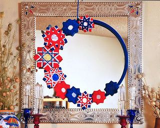 Yarn Wreath for July 4th by gingerbread_snowflakes, via Flickr