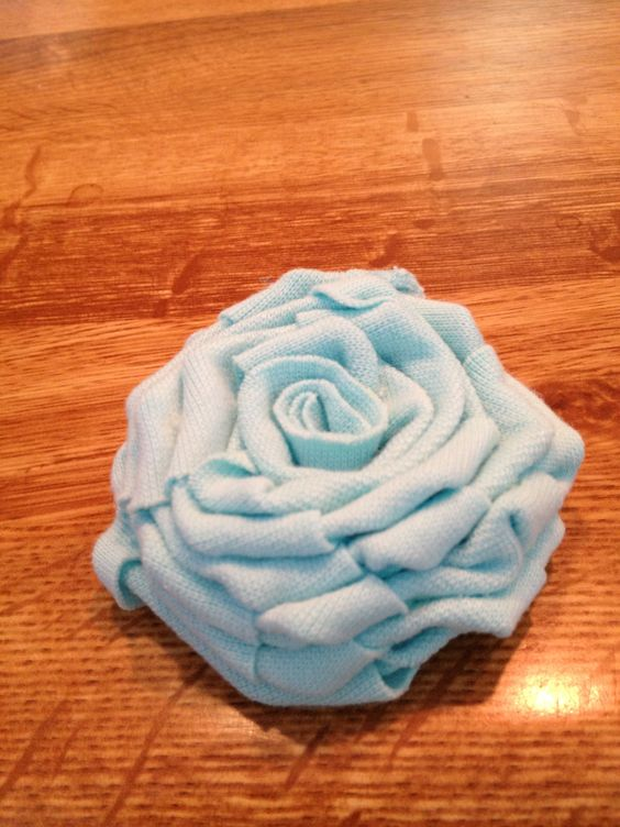 Cloth rose made from my shirt cut into strips.