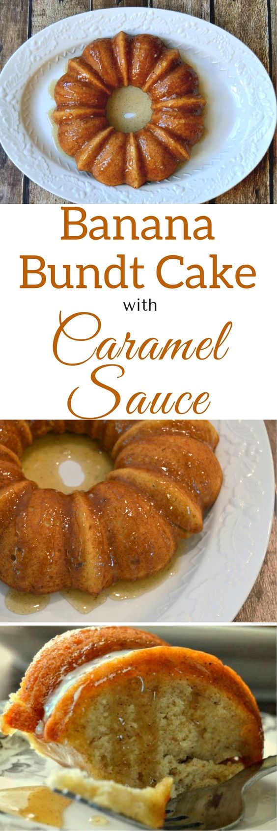 Banana Bundt Cake with Caramel Sauce - My favorite way to use ripe bananas! So moist and decadent, and you can freeze it, too. | via HousewifeHowTos.com