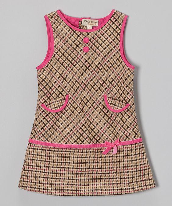 Beige & Pink Plaid Wool-Blend Shift Dress