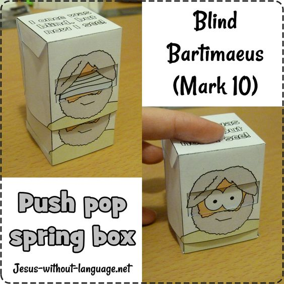 Blind Bartimaeus push-pop spring box (Mark 10) #Jesuswithoutlanguage:
