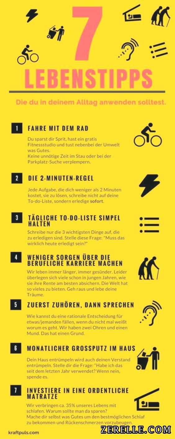 7 Lebenstipps Die Infografik Fur Ein Besseres Leben Handlettering Quotes About Me Blog Psychology Quotes