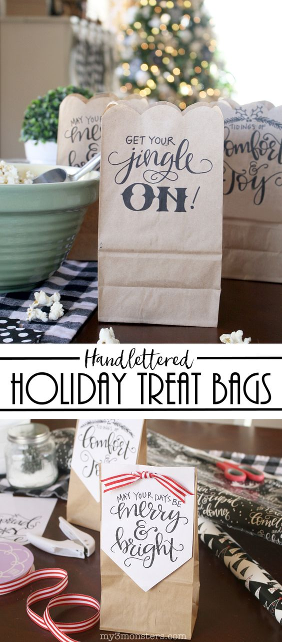 Handlettered Christmas treat bag printables. So cute! Print these handlettered holiday bags on your own printer for easy Christmas treat bags!