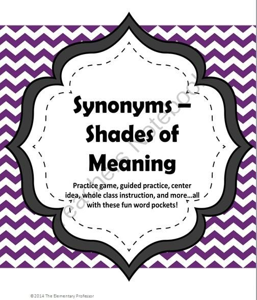 "Synonym Pockets -Shades of Meaning game/lesson/center/practice from The Elementary Professor on TeachersNotebook.com -  (42 pages)  - Practice ""shades of meaning"" for synonyms in a fun way!  These pockets can be adapted for whole group guided practice, small group games, independent practice, etc... Ideas are included for how to use in these ways and more!"