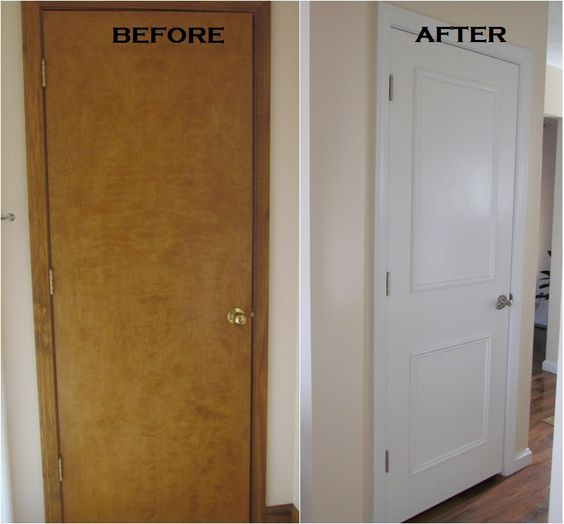 Flat panel door...add some picture mould and paint...new handle.....voila!  Yes please!  Love this.  Now I don't have to spend a fortune on new doors, yay!!