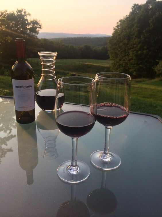 from the contest: sunset treat with Woodstock wine glasses and the Wellesley Carafe