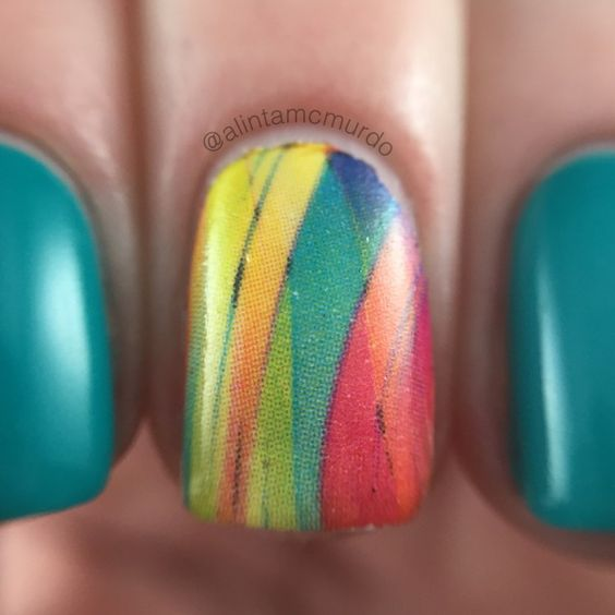 MILV Water Decals Review - Polish And Paws Blog - MILV N392 water decal with Powder Perfect Bermuda, a lovely teal polish - Aussie Indie - Nails - Cruelty Free Beauty