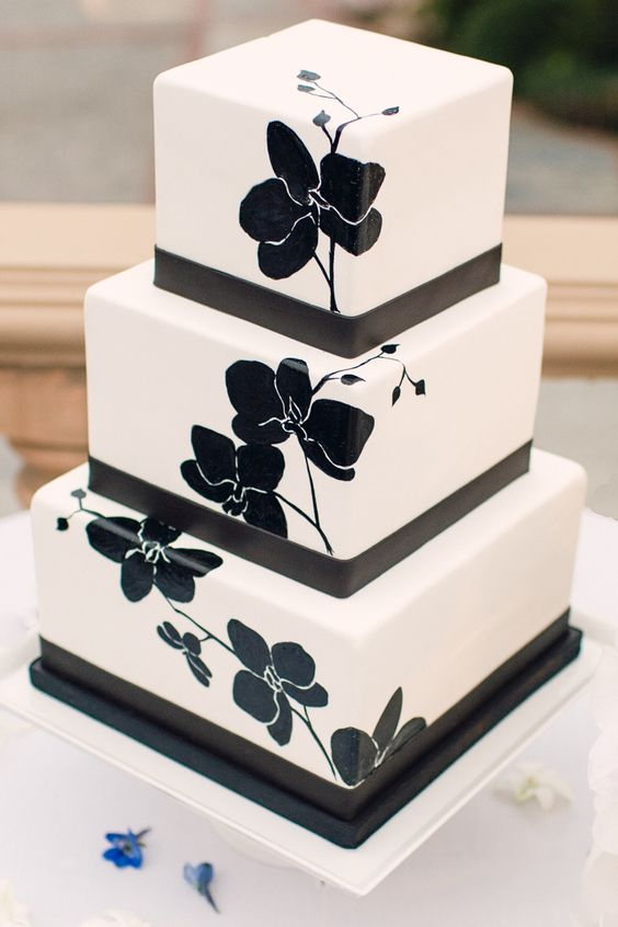 Black and white hand painted cake by The Butter End Cakery, Santa Monica, CA