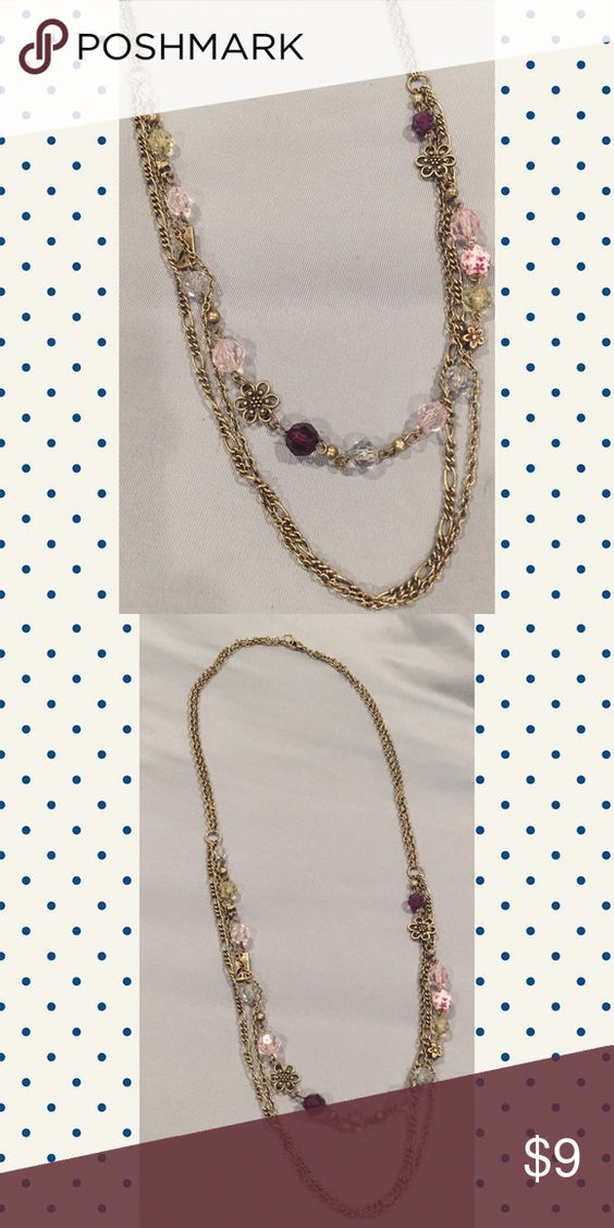Cute floral necklace Floral detailing, purple, pink, light blue and green beads Maurices Jewelry Necklaces