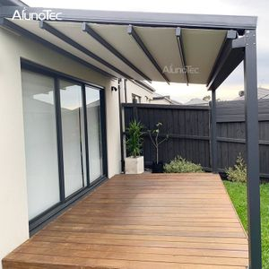 Outdoor Wind Resistance Waterproof Aluminium Pvc Retractable Awning Roof With Led Buy Pvc Pergola R Outdoor Awnings Awning Roof Retractable Awning