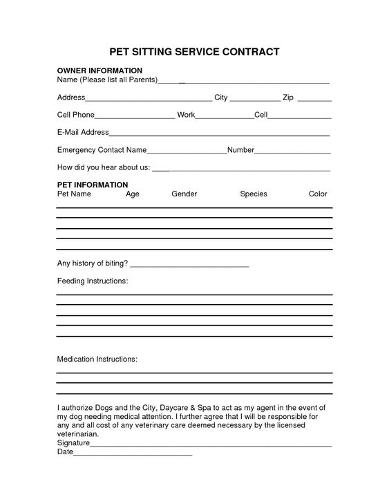 pet sitter information form
