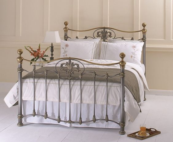 OBC Camolin 6ft Super Kingsize Silver Patina Metal Bed Frame by ...