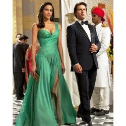 Paula Patton Green Celebrity Evening Dress in Film Mission Impossible