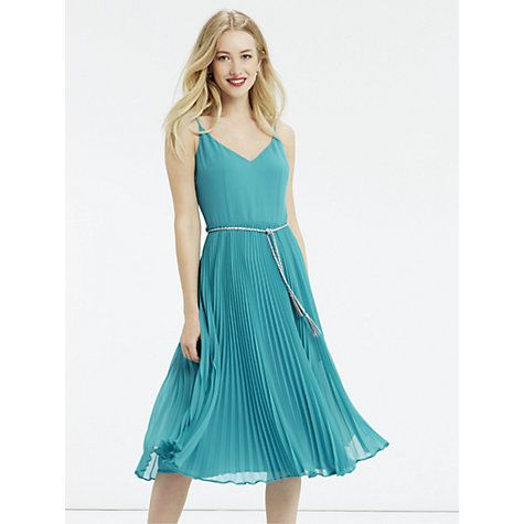 Bridesmaid dress? Oasis Pleated Cami Midi Dress, Teal Green Online at johnlewis.com