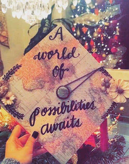 "Graduation cap. ""A world of possibilities awaits."""