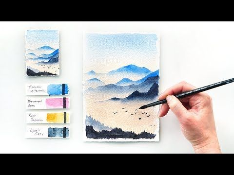 Mountains At Dawn Easy Step By Step Watercolor Tutorial Youtube