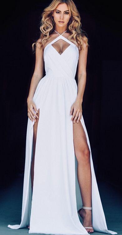 2016 Sexy Halter Neck White Prom Dresses Ruched Side Slits Open ...