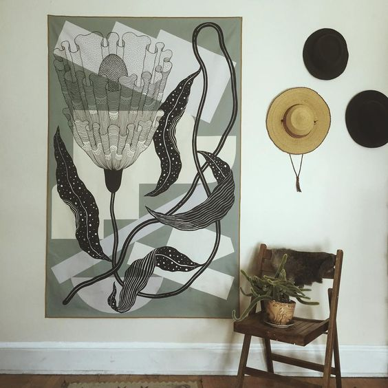 the 'Abundance' large textile print. A beautiful piece that measures appx 6' x 4'. $300 at strangedirt.com