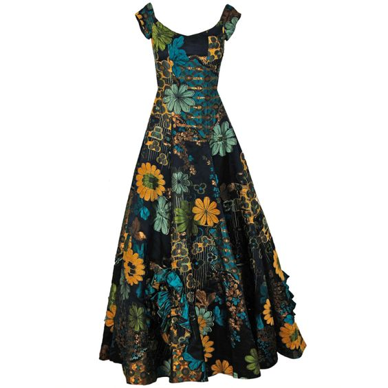 1990's Oscar de la Renta Couture Floral-Silk Full Evening Gown