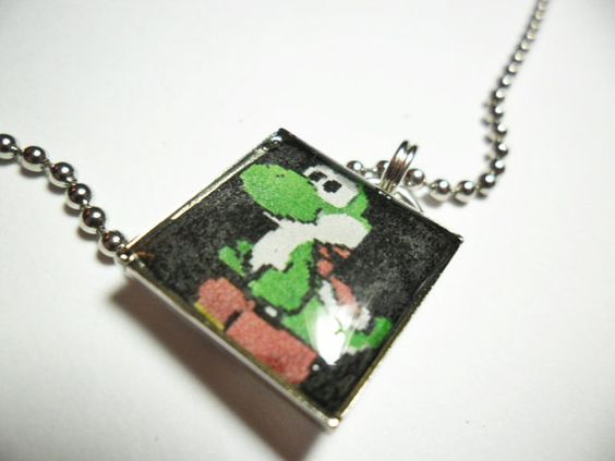Video game pendant of Yoshi from Super Mario by ReturnersHideout, $12.50