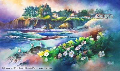 North Point - Depoe Bay, Oregon Coast Watercolor Painting by Michael David…