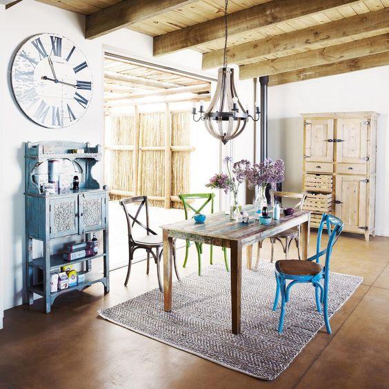Mesa de comedor rectangular de madera reciclada CALANQUE