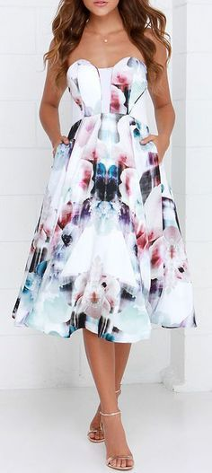 Maybe wedding guest dress? -Emily   Bariano Floral Flux Ivory Floral Print Midi Dress: