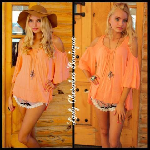 Peach Bellini OPEN SHOULDER SOLID PEACH TOP Price: $35.00, Free Shipping Available @ https://instagram.com/ladycherokeeboutique