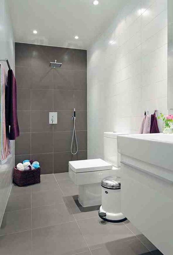 Captivating Grey Bathroom   Floor Tiles With One Wall In The Same Tile | Bathrooms |  Pinterest | Grey Bathrooms, Walls And Wet Rooms Part 6