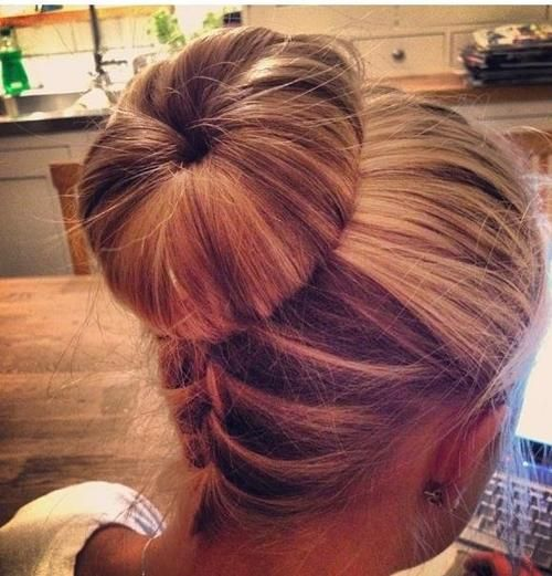 sweet sock bun: Hair Bun, Sock Bun, Hairstyle, Hair Style, Hair Color, Braided Bun