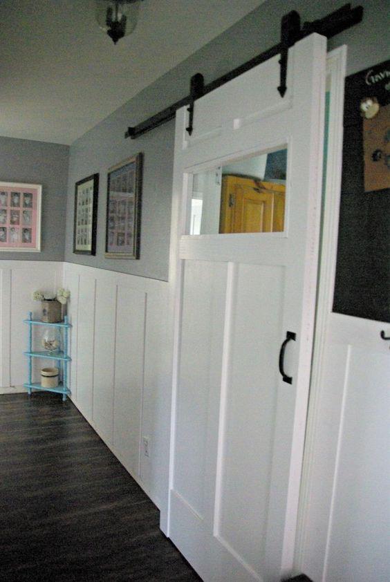 Diy barn door space saving and creative creative head - Interior doors for small spaces plan ...