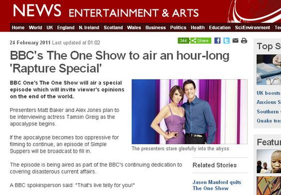 The One Show to air 'Rapture Special'