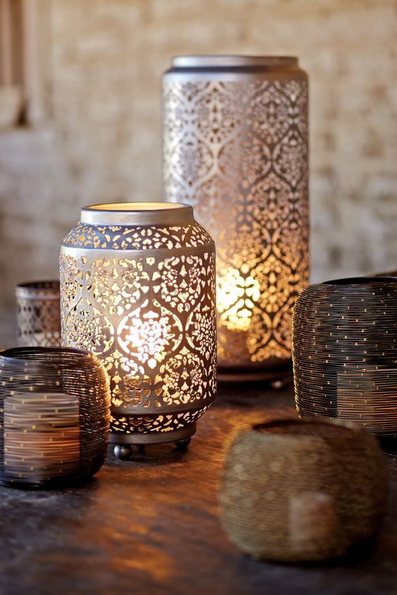 New Desert Caravan Collection featuring Cost Plus World Market's Baroque Cylinder Punched Metal Accent Lamp >> #WorldMarket Home Decor Ideas