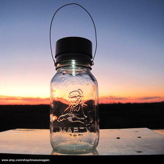 Mom's Mason Jar Glass Outdoor Lantern by treasureagain on Etsy, $36.50