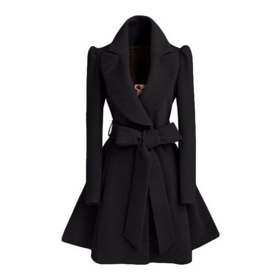 SheIn(sheinside) Black Shawl Collar Frock Coat With Belt ($30