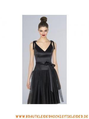Schwarzes Süßes Brautjungfernkleid aus Satin und Tüll Knielang