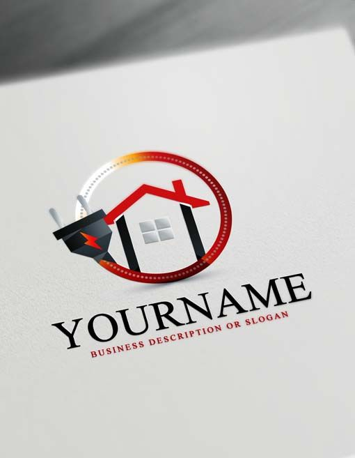 Make Your Own House Electrician Logo With Free Logo Maker Electrician Logo Free Logo Logo Design Free