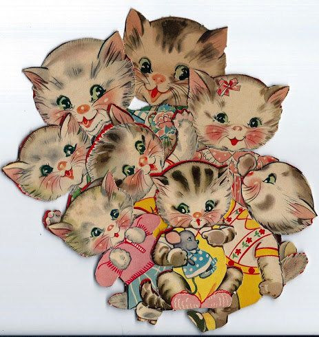 1940s Kitty Family Paper Dolls Digital by PaperGoodsParadise, $4.99