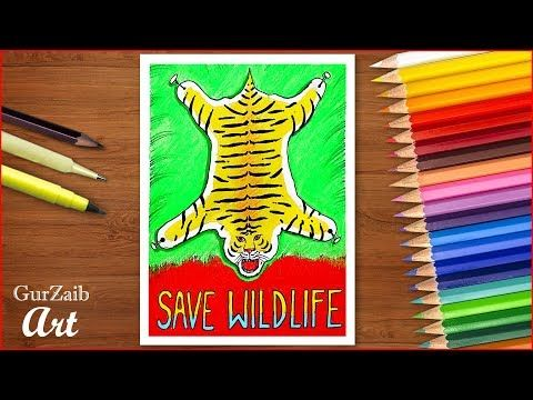 Save Wild Life Poster Chart Drawing For School Students Very Easy Save Tigers Save Wild Animals Yo Tiger Poster Save Animals Poster Wild Animals Drawing