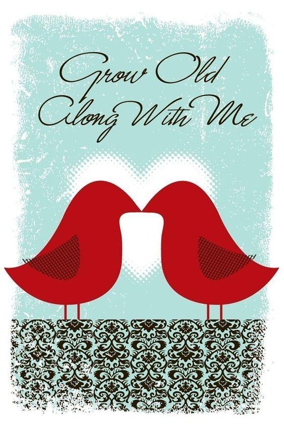 SALE Reg 25 Now 15 - Love Birds Silkscreen Print - Grow Old Along With Me - Great Wedding Gift.